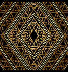 golden ethnic geometric seamless pattern vector image