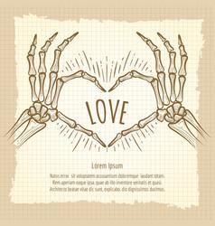 skeleton hands love sign vintage backdrop vector image vector image