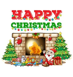 Christmas theme with Santa at fireplace vector image vector image