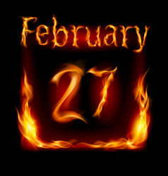 twenty-seventh february in calendar of fire icon vector image