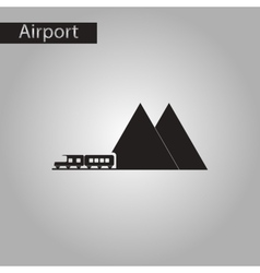 Black and white style icon mountain train vector