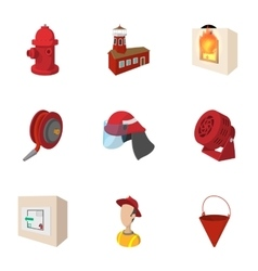Burning icons set cartoon style vector image vector image