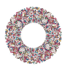 circle frame wreath design made of doodle vector image vector image
