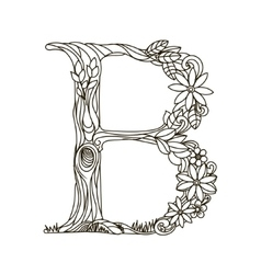 Letter B coloring book for adults vector image