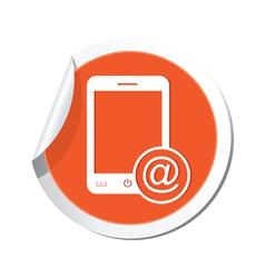 phone email icon orange sticker vector image vector image