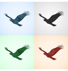 Set from eagle with mandala patterns vector