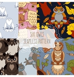 Set of six seamless patterns with birds vector image vector image