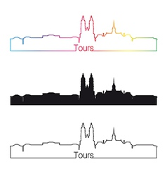 Tours skyline linear style with rainbow vector image vector image