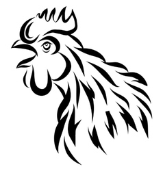 with black rooster silhouette vector image