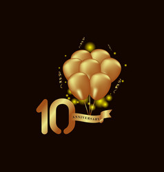 10 year anniversary gold balloon template design vector