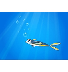 A blue yellow fish under the sea vector image