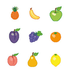 a collection of fruits in the style of pixel art vector image