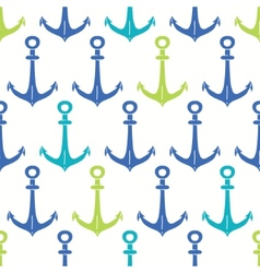 Anchors blue and green seamless pattern backgound vector