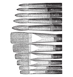 Artists bristle brushes are flat brushes vintage vector