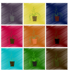 Assembly flat shading style icons plant in a pot vector