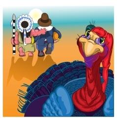 Beautiful colorful cartoon of turkey bird for vector image