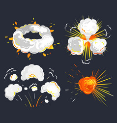 bomb toxic smoke and fire with clouds set vector image
