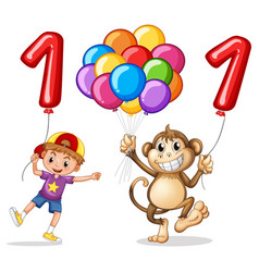 Boy and monkey with balloon for number one vector