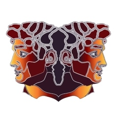 Bright twins portrait zodiac Gemini sign vector image