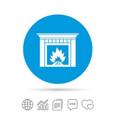 Burning fireplace icon heat symbol vector