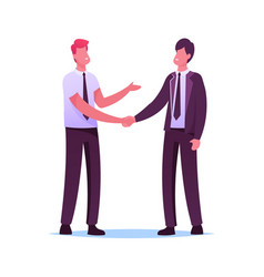 Business partners men handshaking and partnership vector