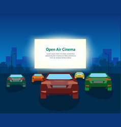 Car open air cinema card poster vintage vector