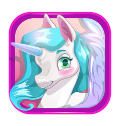 cartoon app icon with cute unicorn face vector image