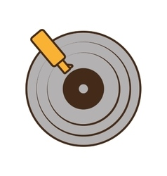 cartoon gray retro vinyl disc record music vector image