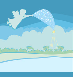 Christmas angel with trumpet vector