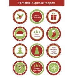 Christmas printable cupcake toppers vector
