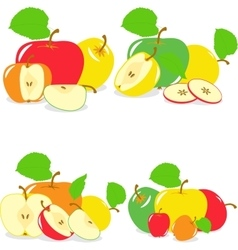 Colorful apples slices collection of vector
