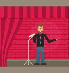 comedian doing stand up flat vector image