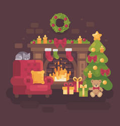 cozy decorated christmas room with a fireplace a vector image