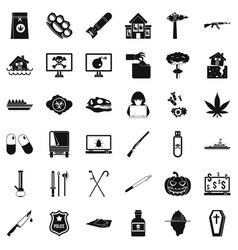 Cruelty icons set simple style vector