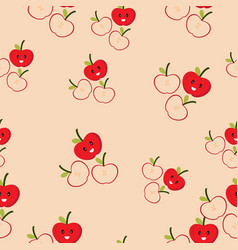 cute seamless patter of apple vector image