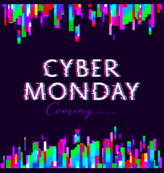 cyber monday sale poster glitch design vector image