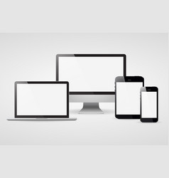 devices screen tablet laptop and phone with shadow vector image