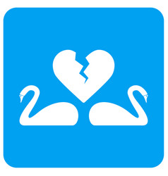 Divorce swans rounded square icon vector