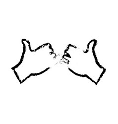 Drawing hands with pinky promise gesture icon vector