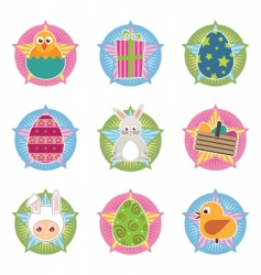 Easter badges vector image vector image