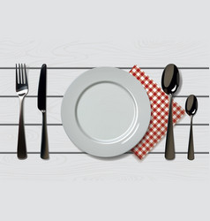empty realistic plate with spoon knife and fork vector image