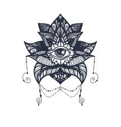 Eye on Lotus Tattoo vector image