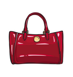 Fashionable glossy red bag isolated vector