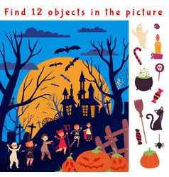 find hidden objects halloween game location fun vector image