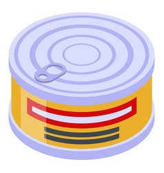 Fish tin can icon isometric style vector