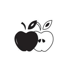 Flat black apple icon vector