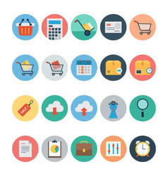 Flat Shopping and Commerce Icons 1 vector