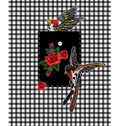 flying bird and red roses stickers for embroidery vector image