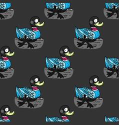 funny duck swim seamless pattern vector image