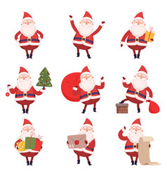 funny santa claus with presents collection cute vector image